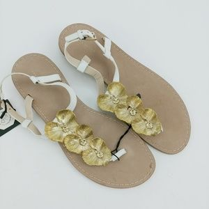 Nwt $89 Zara Gold Floral Metal Slide Sandals 40 10